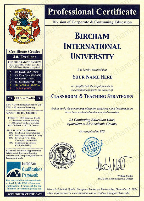 Continuing Education Bircham International University